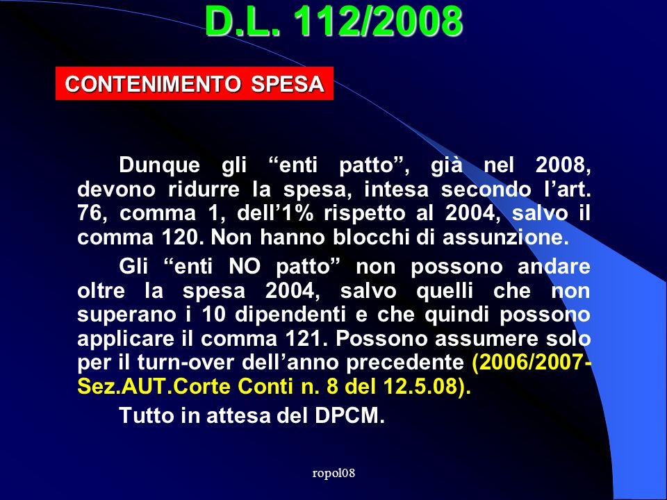 ropol08 D.L. 112/2008 GESTIONE DEL DEBITO