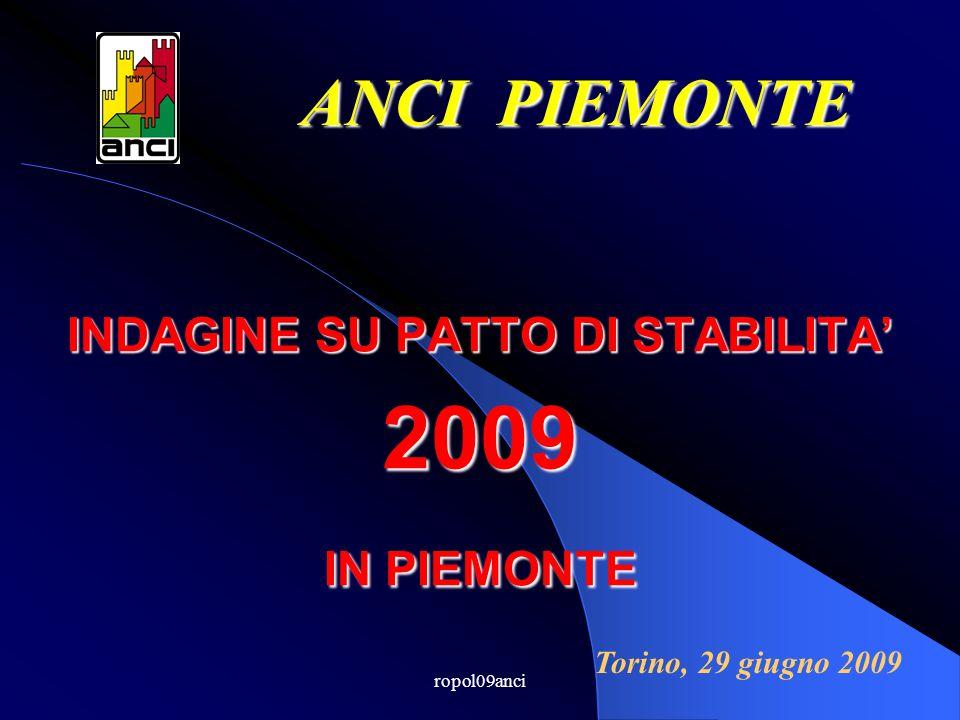 ropol09anci INDAGINE SU PATTO DI STABILITA 2009 IN PIEMONTE ANCI PIEMONTE Torino, 29 giugno 2009
