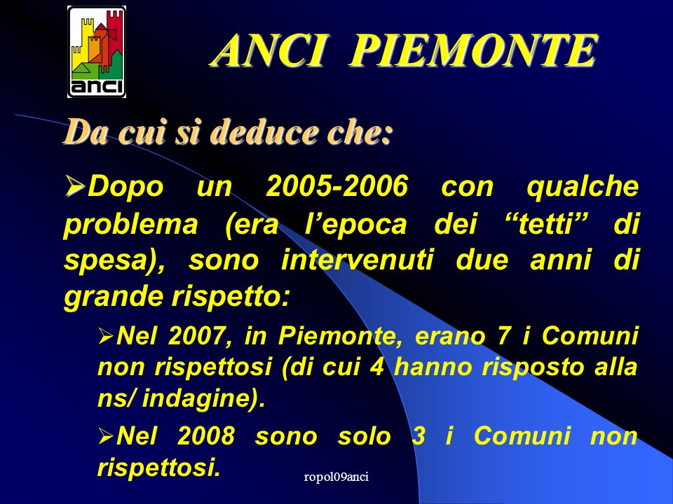 ropol09anci Da cui si deduce che: Dopo un 2005-2006 con qualche problema (era lepoca dei tetti di spesa), sono intervenuti due anni di grande rispetto: Nel 2007, in Piemonte, erano 7 i Comuni non rispettosi (di cui 4 hanno risposto alla ns/ indagine).