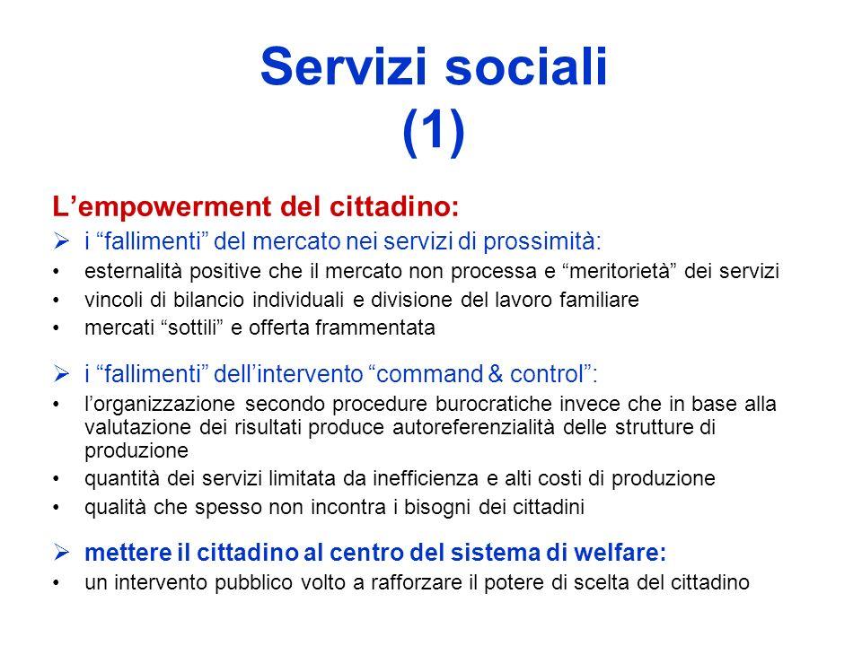 Servizi sociali (1) Lempowerment del cittadino: i fallimenti del mercato nei servizi di prossimità: esternalità positive che il mercato non processa e