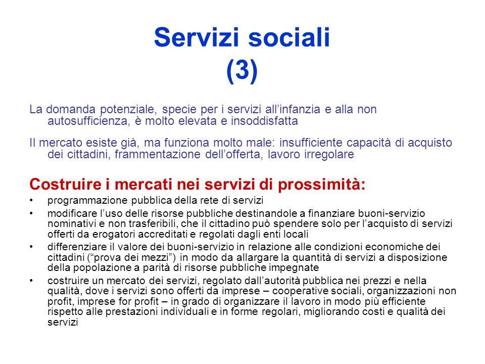 Servizi sociali (3) La domanda potenziale, specie per i servizi allinfanzia e alla non autosufficienza, è molto elevata e insoddisfatta Il mercato esi