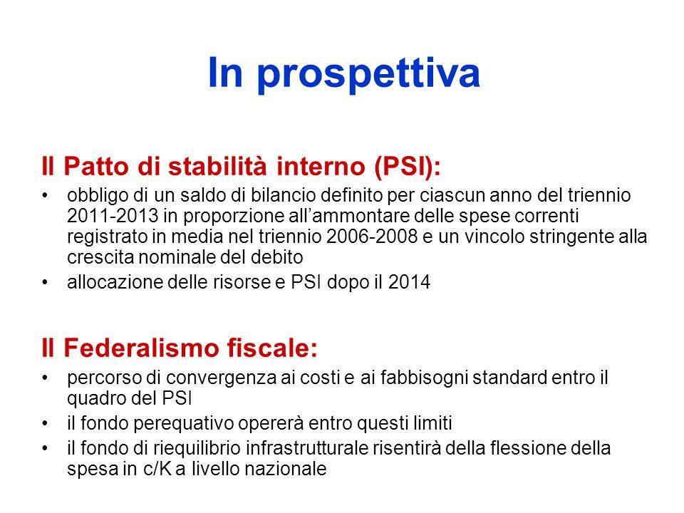 In prospettiva Il Patto di stabilità interno (PSI): obbligo di un saldo di bilancio definito per ciascun anno del triennio 2011-2013 in proporzione allammontare delle spese correnti registrato in media nel triennio 2006-2008 e un vincolo stringente alla crescita nominale del debito allocazione delle risorse e PSI dopo il 2014 Il Federalismo fiscale: percorso di convergenza ai costi e ai fabbisogni standard entro il quadro del PSI il fondo perequativo opererà entro questi limiti il fondo di riequilibrio infrastrutturale risentirà della flessione della spesa in c/K a livello nazionale