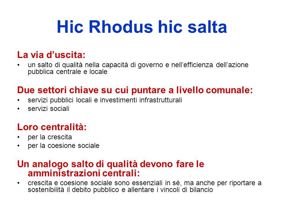 Hic Rhodus hic salta La via duscita: un salto di qualità nella capacità di governo e nellefficienza dellazione pubblica centrale e locale Due settori