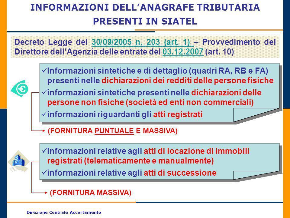 Direzione Centrale Accertamento INFORMAZIONI DELLANAGRAFE TRIBUTARIA PRESENTI IN SIATEL Decreto Legge del 30/09/2005 n. 203 (art. 1) – Provvedimento d