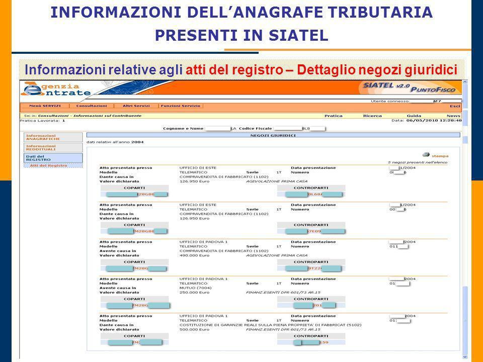 INFORMAZIONI DELLANAGRAFE TRIBUTARIA PRESENTI IN SIATEL Informazioni relative agli atti del registro – Dettaglio negozi giuridici