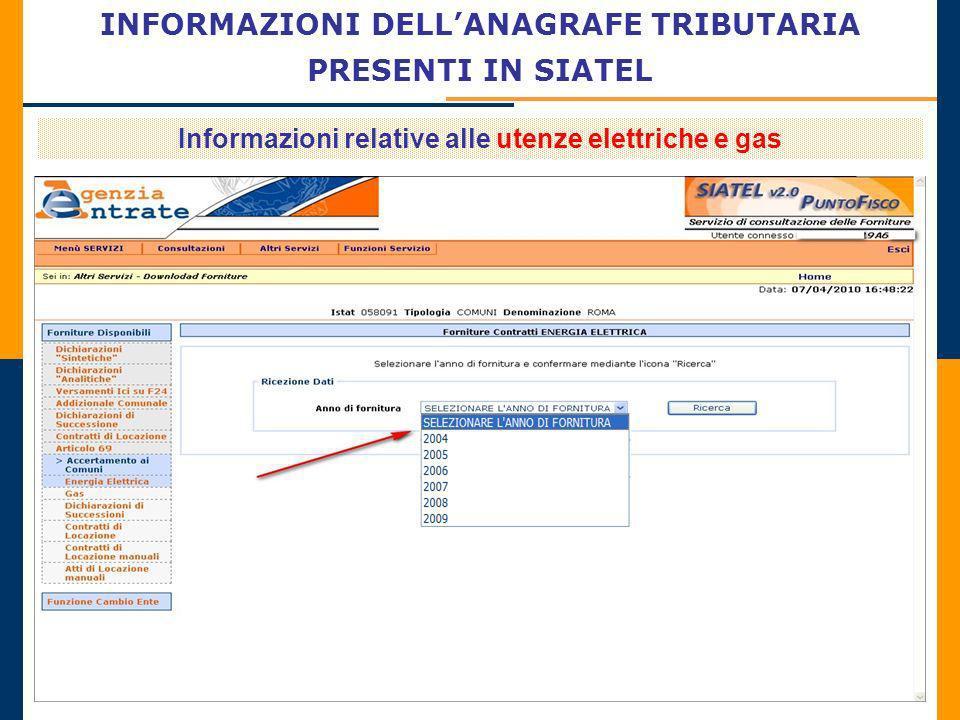 INFORMAZIONI DELLANAGRAFE TRIBUTARIA PRESENTI IN SIATEL Informazioni relative alle utenze elettriche e gas