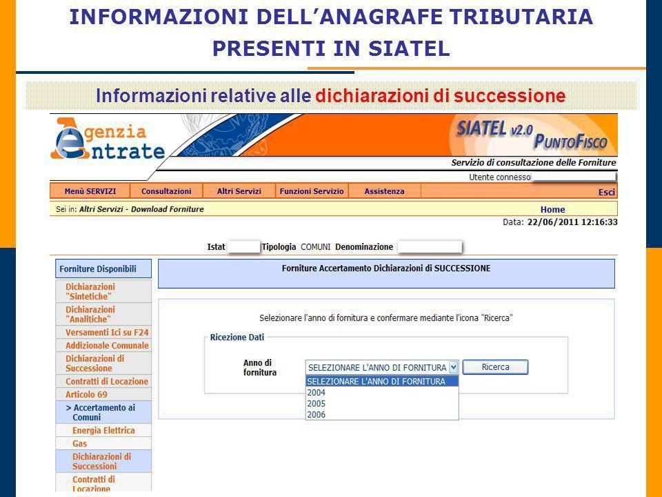 INFORMAZIONI DELLANAGRAFE TRIBUTARIA PRESENTI IN SIATEL Informazioni relative alle dichiarazioni di successione