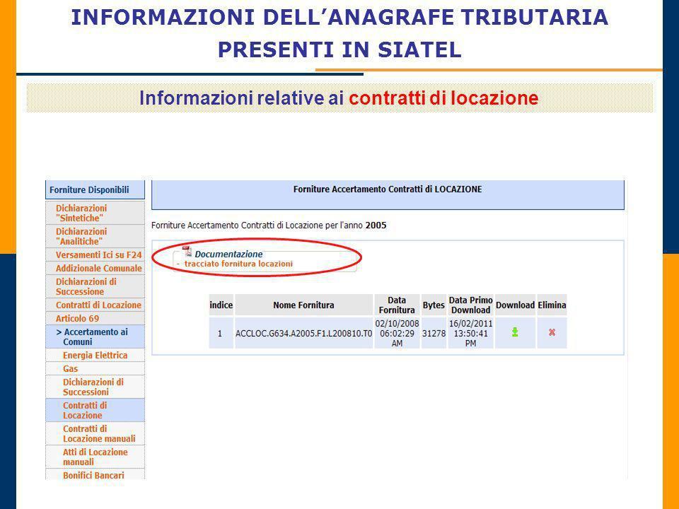 INFORMAZIONI DELLANAGRAFE TRIBUTARIA PRESENTI IN SIATEL Informazioni relative ai contratti di locazione
