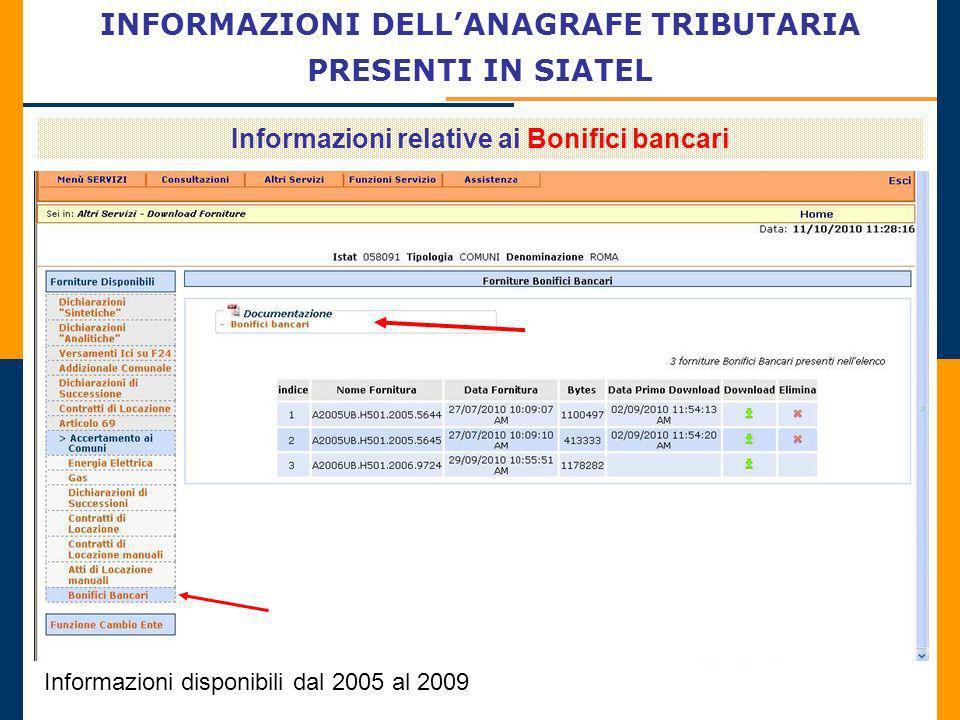 INFORMAZIONI DELLANAGRAFE TRIBUTARIA PRESENTI IN SIATEL Informazioni relative ai Bonifici bancari Informazioni disponibili dal 2005 al 2009