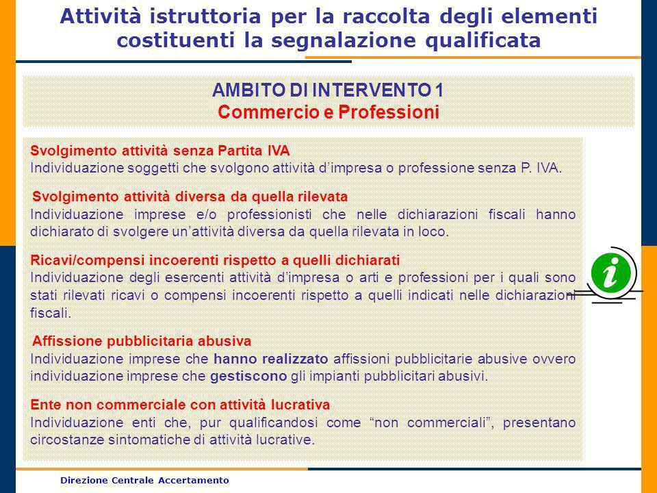 Direzione Centrale Accertamento Attività istruttoria per la raccolta degli elementi costituenti la segnalazione qualificata AMBITO DI INTERVENTO 1 Com