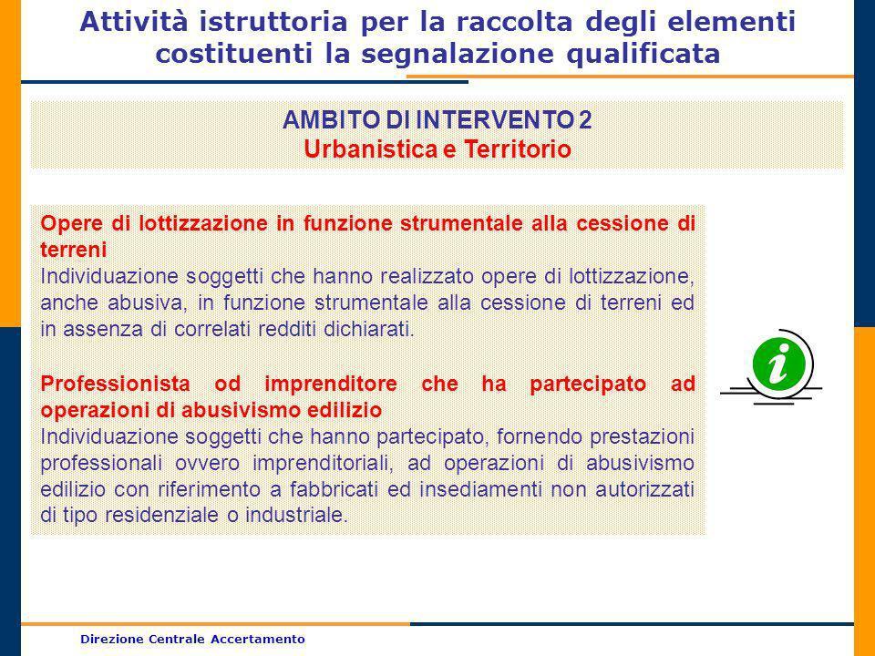 Direzione Centrale Accertamento Attività istruttoria per la raccolta degli elementi costituenti la segnalazione qualificata AMBITO DI INTERVENTO 2 Urb