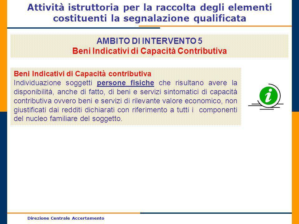 Direzione Centrale Accertamento Attività istruttoria per la raccolta degli elementi costituenti la segnalazione qualificata AMBITO DI INTERVENTO 5 Ben