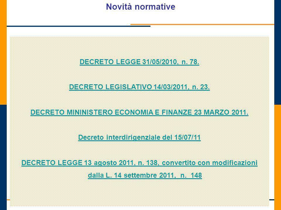 Direzione Centrale Accertamento Novità normative DECRETO LEGGE 31/05/2010, n. 78. DECRETO LEGISLATIVO 14/03/2011, n. 23. DECRETO MININISTERO ECONOMIA