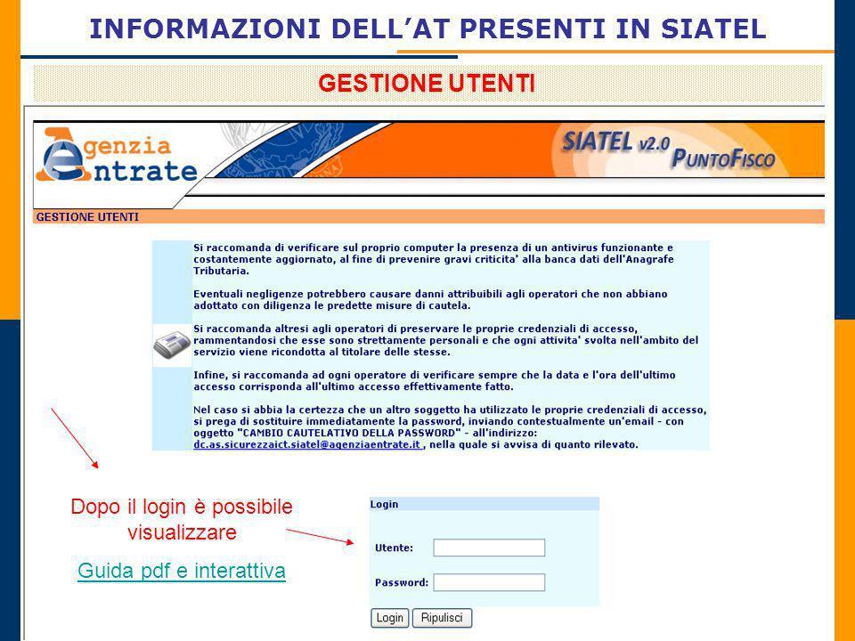 INFORMAZIONI DELLAT PRESENTI IN SIATEL GESTIONE UTENTI Dopo il login è possibile visualizzare Guida pdf e interattiva