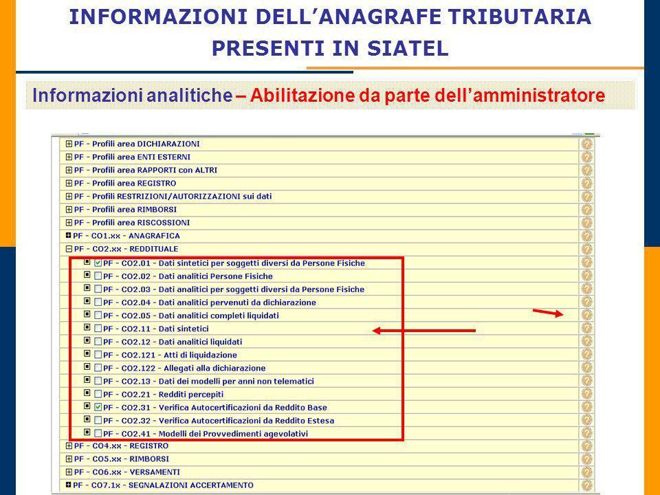 INFORMAZIONI DELLANAGRAFE TRIBUTARIA PRESENTI IN SIATEL Informazioni analitiche – Abilitazione da parte dellamministratore