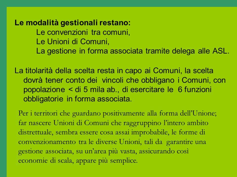 Le modalità gestionali restano: Le convenzioni tra comuni, Le Unioni di Comuni, La gestione in forma associata tramite delega alle ASL. La titolarità