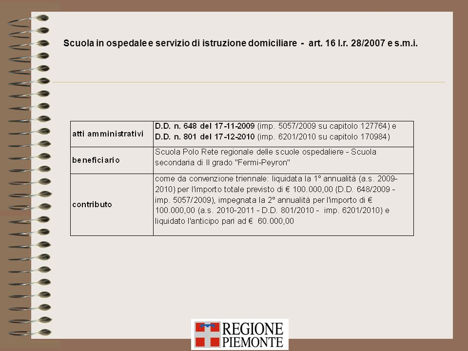 Scuola in ospedale e servizio di istruzione domiciliare - art. 16 l.r. 28/2007 e s.m.i.