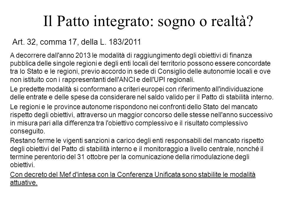 Il Patto integrato: sogno o realtà? Art. 32, comma 17, della L. 183/2011 A decorrere dall'anno 2013 le modalità di raggiungimento degli obiettivi di f