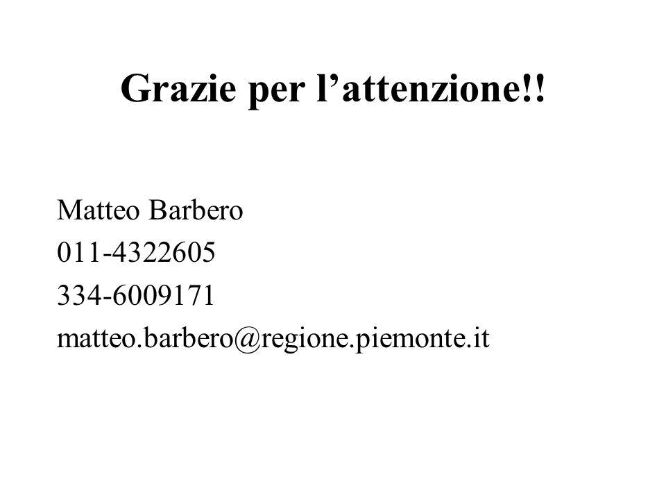 Grazie per lattenzione!! Matteo Barbero 011-4322605 334-6009171 matteo.barbero@regione.piemonte.it