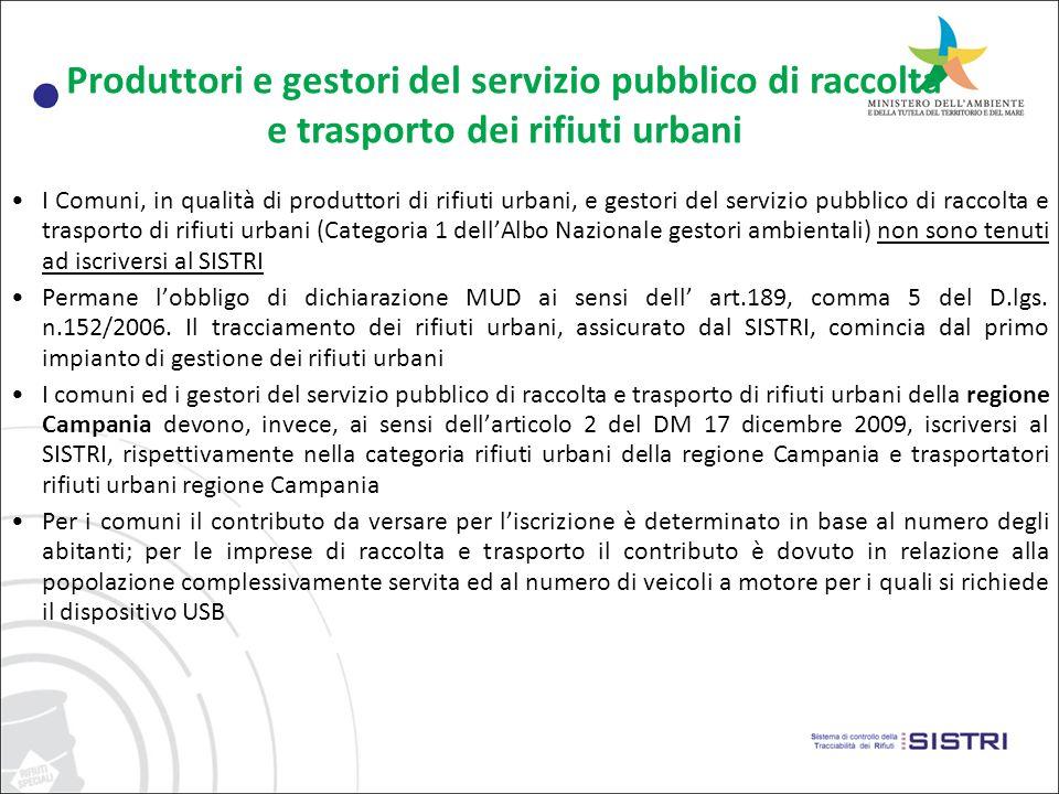 Intermediari e gestori di impianti di recupero/smaltimento dei rifiuti urbani Lintermediario di rifiuti urbani deve iscriversi al SISTRI, ai sensi dellarticolo 1, comma 1 lett.