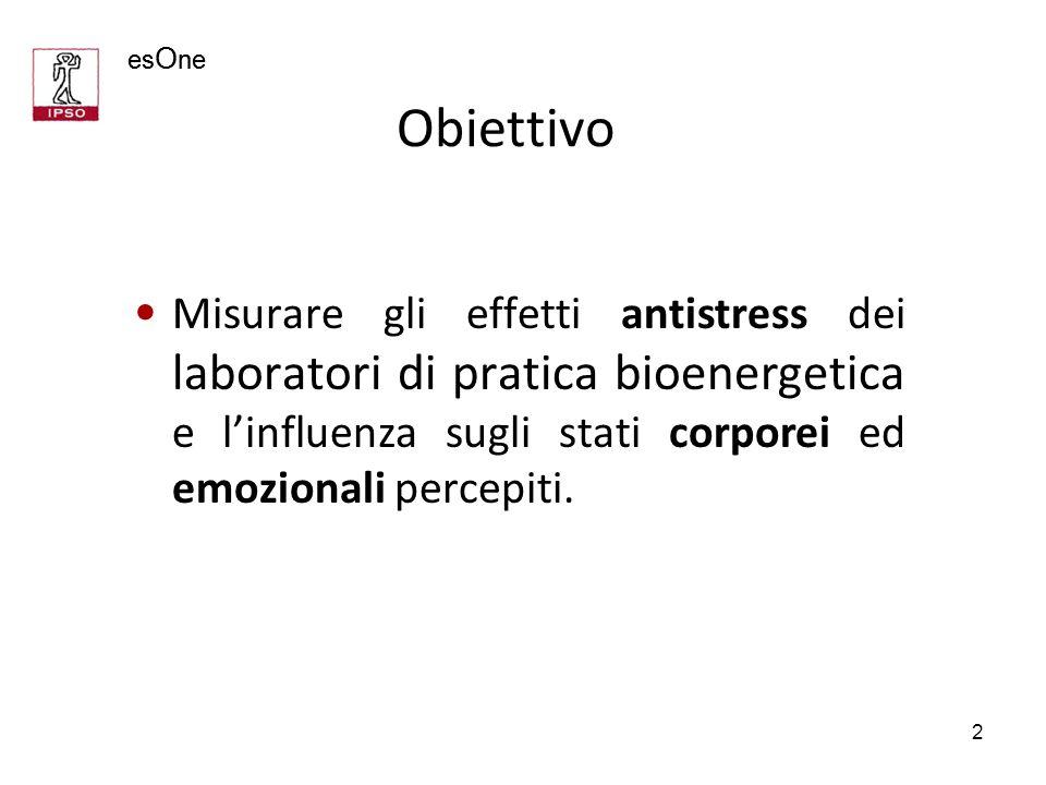 es O ne 2 Obiettivo Misurare gli effetti antistress dei laboratori di pratica bioenergetica e linfluenza sugli stati corporei ed emozionali percepiti.