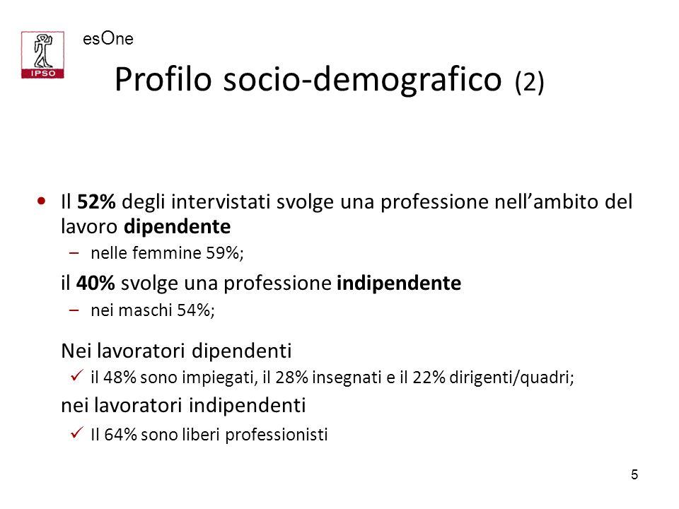 es O ne 5 Il 52% degli intervistati svolge una professione nellambito del lavoro dipendente –nelle femmine 59%; il 40% svolge una professione indipend