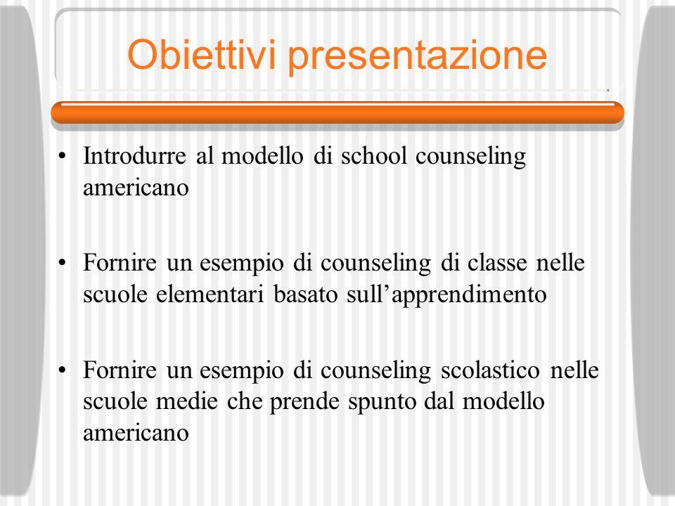 Obiettivi presentazione Introdurre al modello di school counseling americano Fornire un esempio di counseling di classe nelle scuole elementari basato