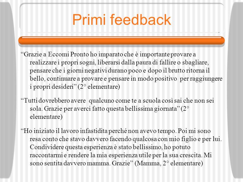 Primi feedback Grazie a Eccomi Pronto ho imparato che è importante provare a realizzare i propri sogni, liberarsi dalla paura di fallire o sbagliare,
