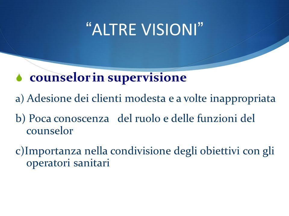 ALTRE VISIONI counselor in supervisione : a) Adesione dei clienti modesta e a volte inappropriata b) Poca conoscenza del ruolo e delle funzioni del counselor c)Importanza nella condivisione degli obiettivi con gli operatori sanitari