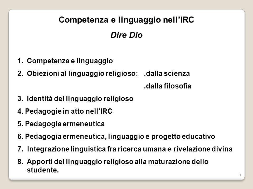 1 Competenza e linguaggio nellIRC Dire Dio 1.Competenza e linguaggio 2.Obiezioni al linguaggio religioso:.dalla scienza.dalla filosofia 3.Identità del