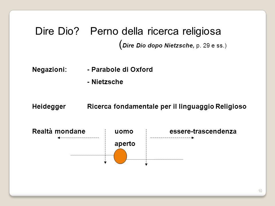 10 Dire Dio?Perno della ricerca religiosa ( Dire Dio dopo Nietzsche, p. 29 e ss.) Negazioni: - Parabole di Oxford - Nietzsche HeideggerRicerca fondame