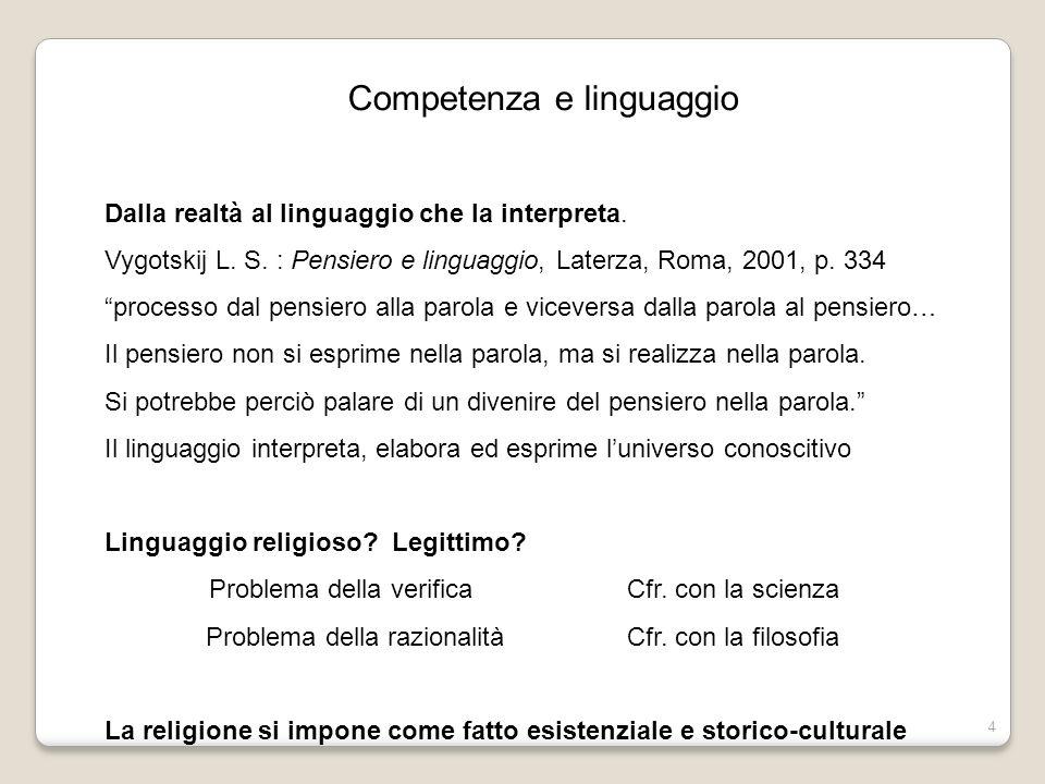 4 Competenza e linguaggio Dalla realtà al linguaggio che la interpreta. Vygotskij L. S. : Pensiero e linguaggio, Laterza, Roma, 2001, p. 334 processo