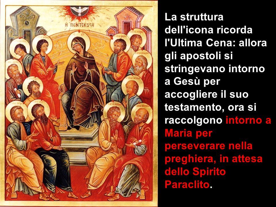 La struttura dell'icona ricorda l'Ultima Cena: allora gli apostoli si stringevano intorno a Gesù per accogliere il suo testamento, ora si raccolgono i