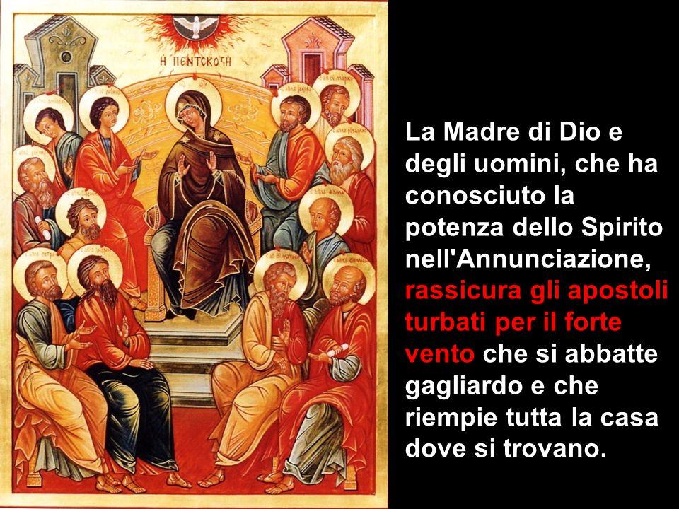 La Madre di Dio e degli uomini, che ha conosciuto la potenza dello Spirito nell'Annunciazione, rassicura gli apostoli turbati per il forte vento che s