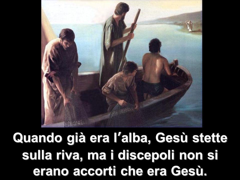 Quando già era lalba, Gesù stette sulla riva, ma i discepoli non si erano accorti che era Gesù.