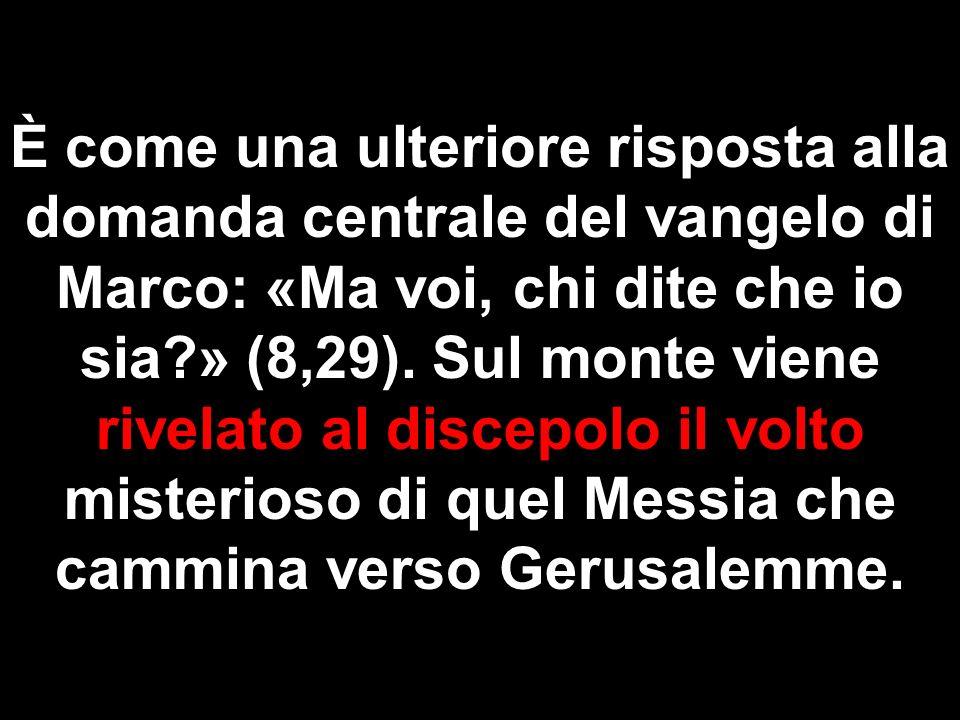 È come una ulteriore risposta alla domanda centrale del vangelo di Marco: «Ma voi, chi dite che io sia?» (8,29). Sul monte viene rivelato al discepolo