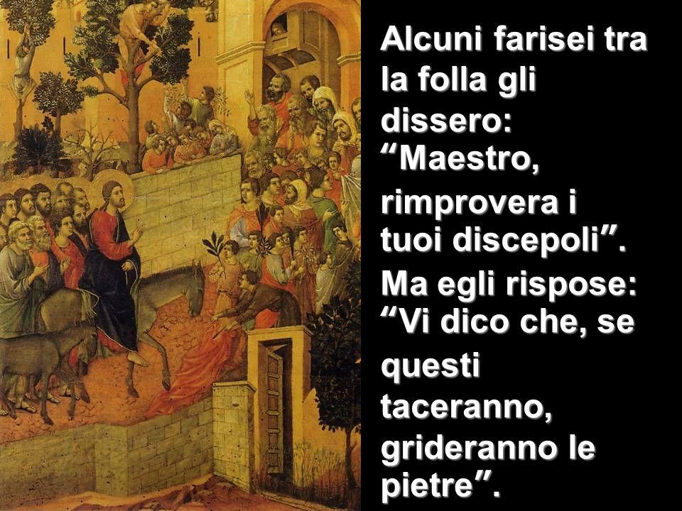 Alcuni farisei tra la folla gli dissero:Maestro, rimprovera i tuoi discepoli. Ma egli rispose:Vi dico che, se questi taceranno, grideranno le pietre.