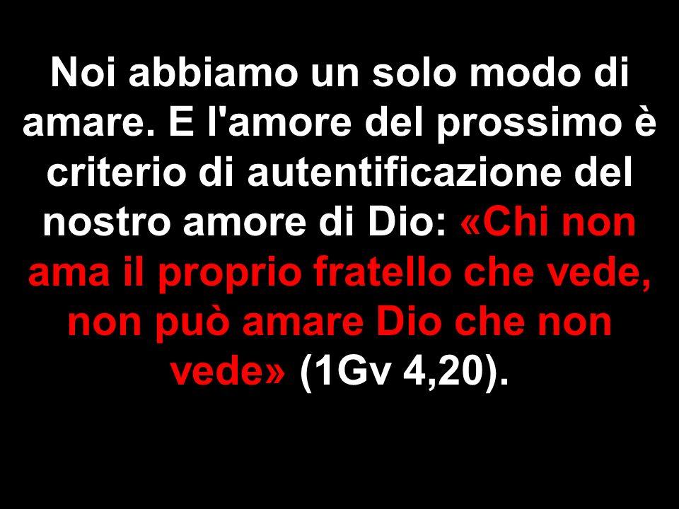 Noi abbiamo un solo modo di amare. E l'amore del prossimo è criterio di autentificazione del nostro amore di Dio: «Chi non ama il proprio fratello che