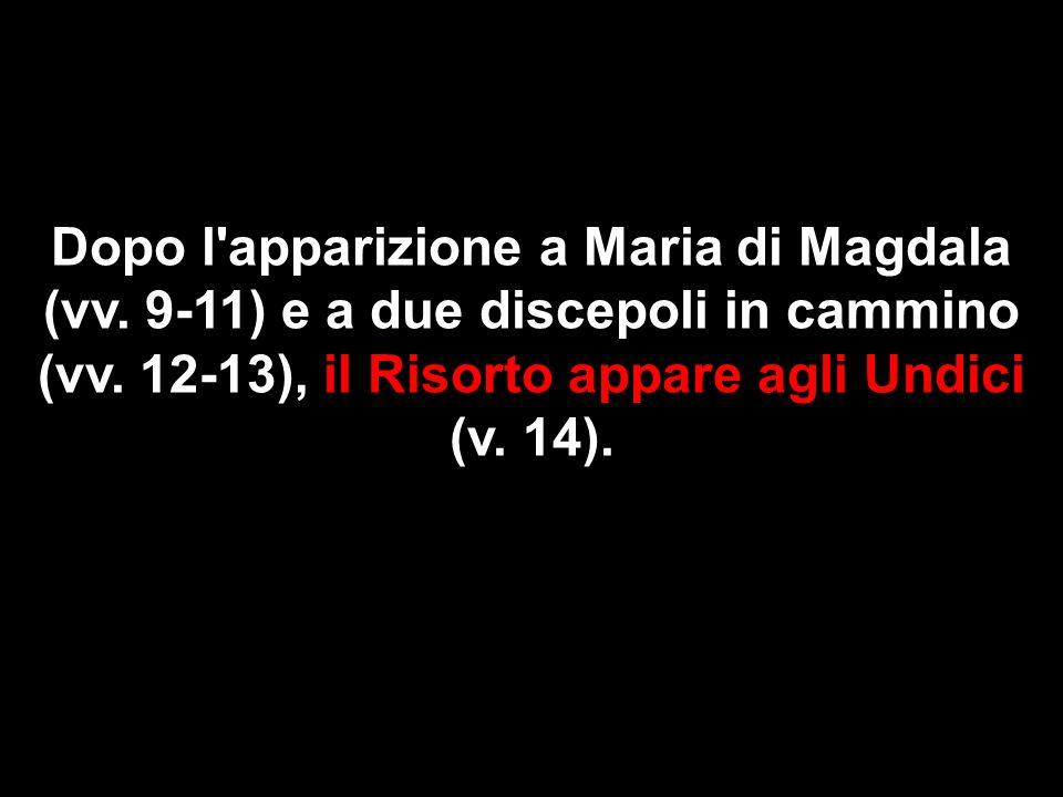 Dopo l'apparizione a Maria di Magdala (vv. 9-11) e a due discepoli in cammino (vv. 12-13), il Risorto appare agli Undici (v. 14).