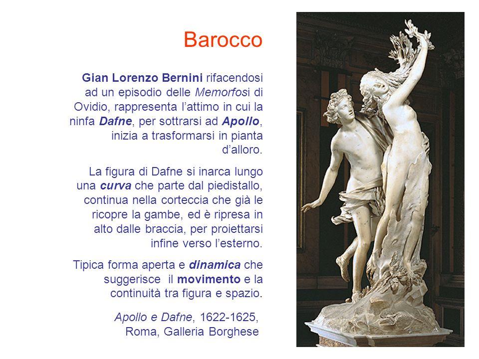 Gian Lorenzo Bernini rifacendosi ad un episodio delle Memorfosi di Ovidio, rappresenta lattimo in cui la ninfa Dafne, per sottrarsi ad Apollo, inizia