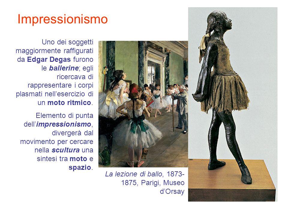 Impressionismo Uno dei soggetti maggiormente raffigurati da Edgar Degas furono le ballerine; egli ricercava di rappresentare i corpi plasmati nelleser