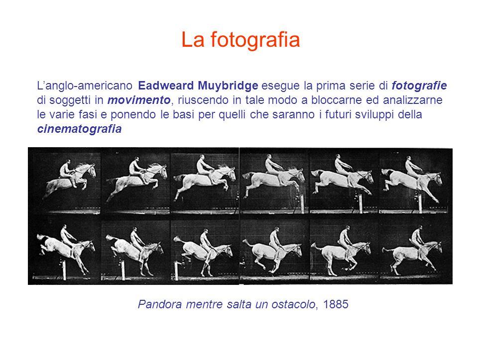La fotografia Langlo-americano Eadweard Muybridge esegue la prima serie di fotografie di soggetti in movimento, riuscendo in tale modo a bloccarne ed