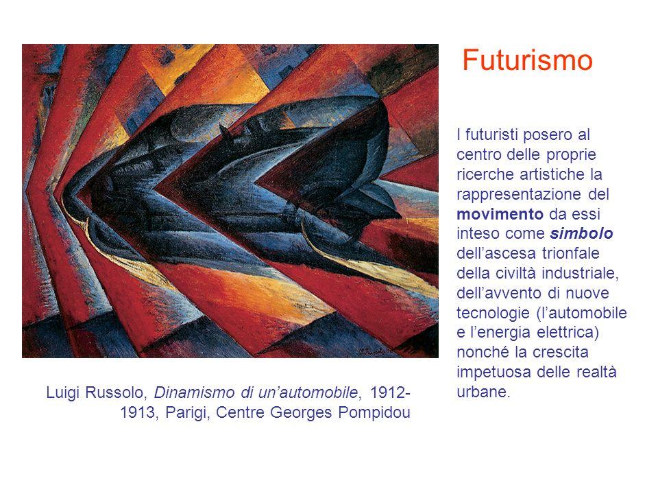 Futurismo I futuristi posero al centro delle proprie ricerche artistiche la rappresentazione del movimento da essi inteso come simbolo dellascesa trio