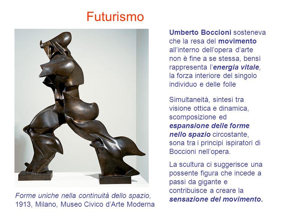 Umberto Boccioni sosteneva che la resa del movimento allinterno dellopera darte non è fine a se stessa, bensì rappresenta lenergia vitale, la forza in