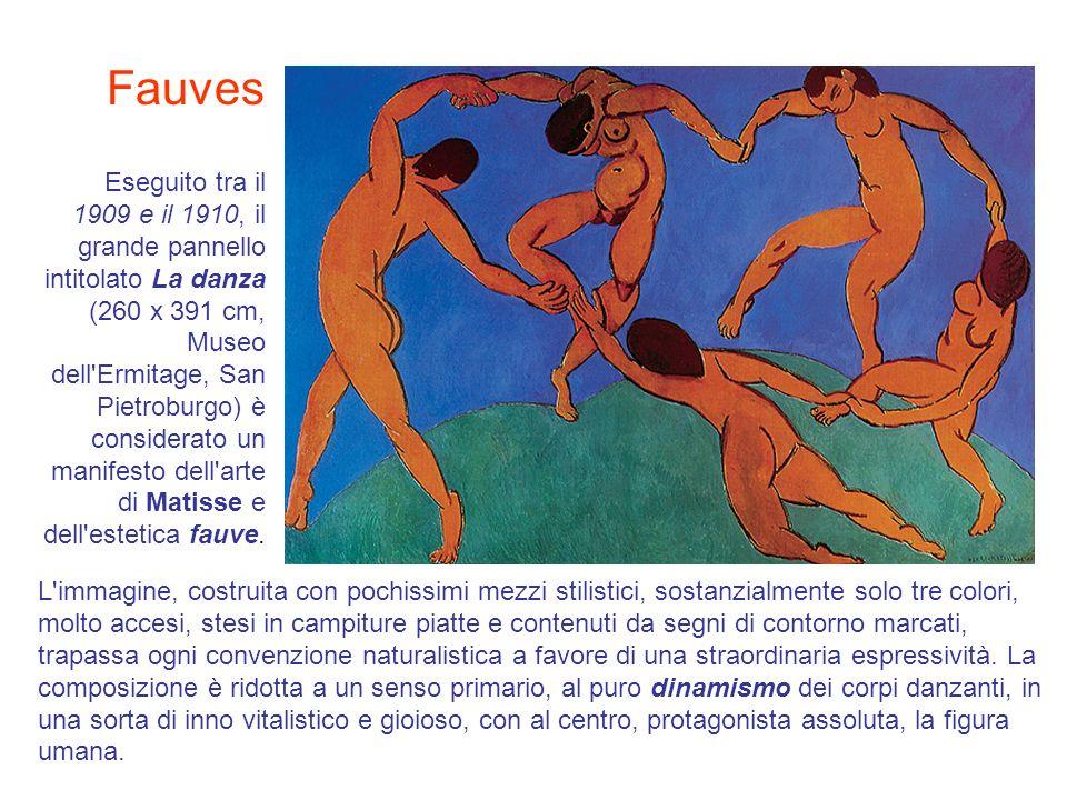 Eseguito tra il 1909 e il 1910, il grande pannello intitolato La danza (260 x 391 cm, Museo dell'Ermitage, San Pietroburgo) è considerato un manifesto