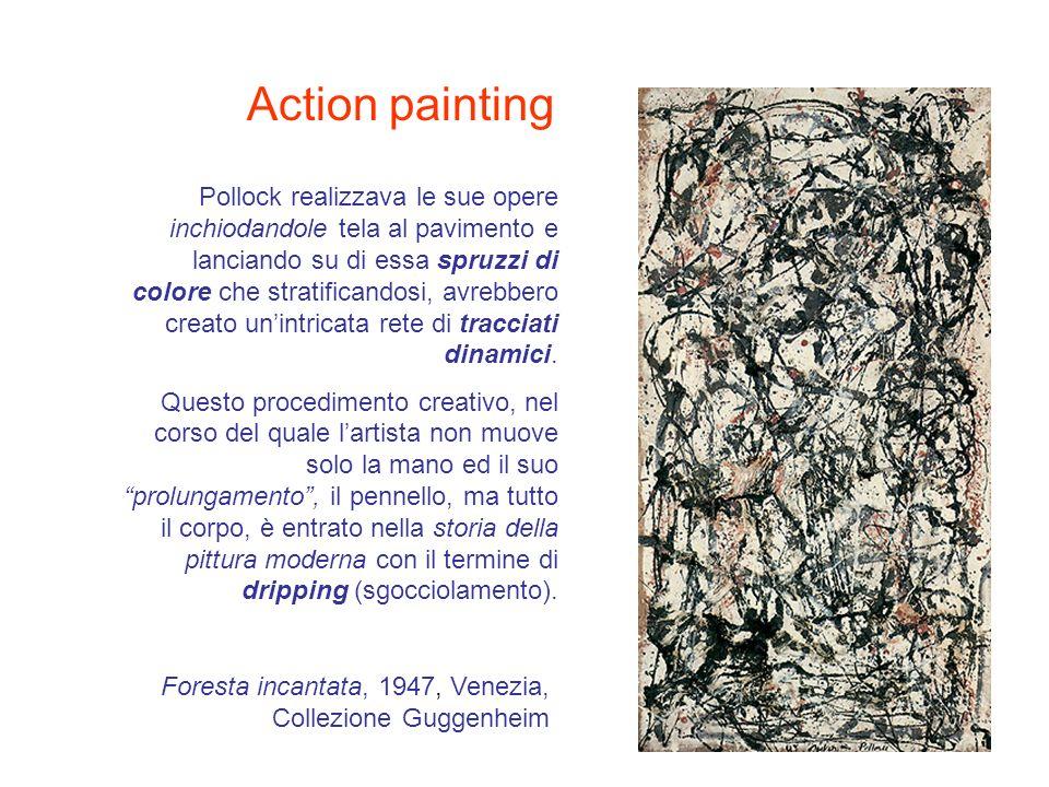 Pollock realizzava le sue opere inchiodandole tela al pavimento e lanciando su di essa spruzzi di colore che stratificandosi, avrebbero creato unintri