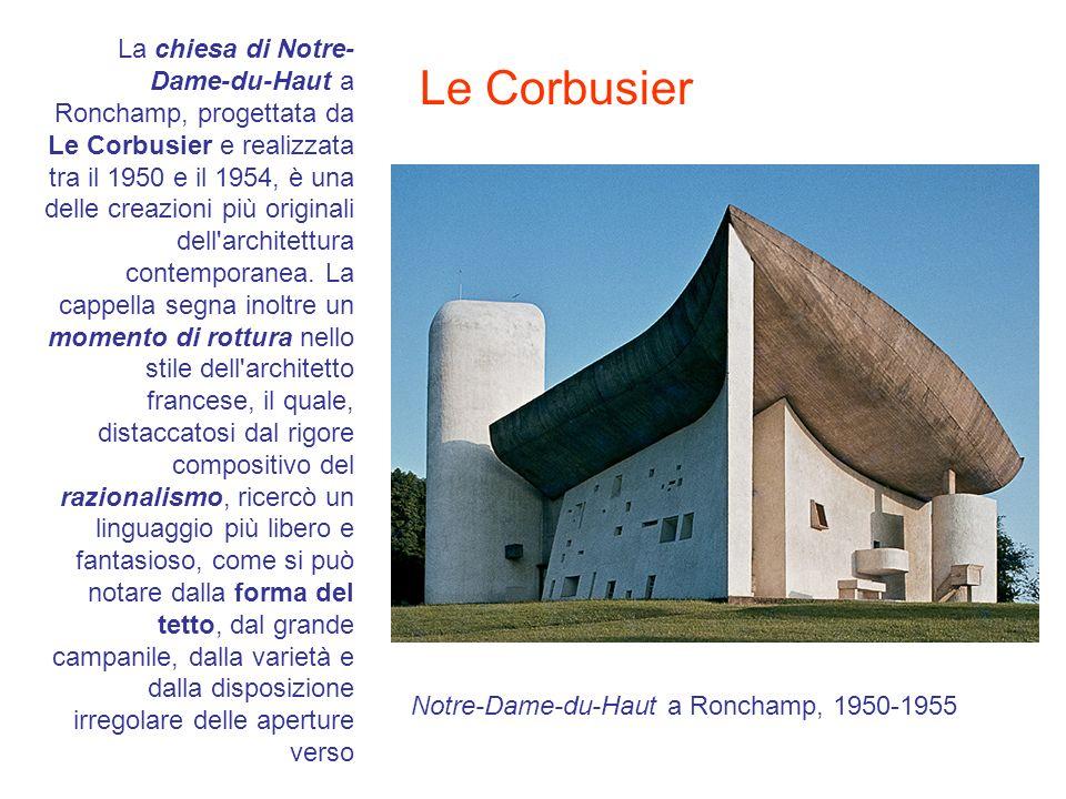 La chiesa di Notre- Dame-du-Haut a Ronchamp, progettata da Le Corbusier e realizzata tra il 1950 e il 1954, è una delle creazioni più originali dell'a