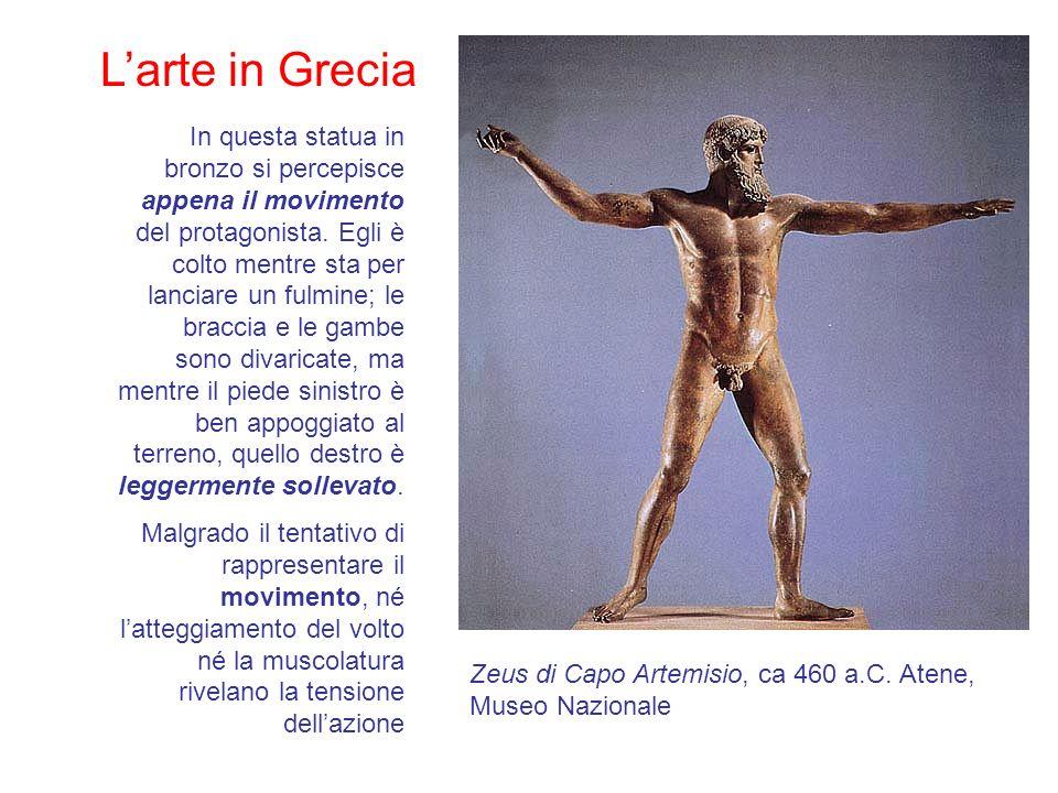 Larte in Grecia In questa statua in bronzo si percepisce appena il movimento del protagonista. Egli è colto mentre sta per lanciare un fulmine; le bra