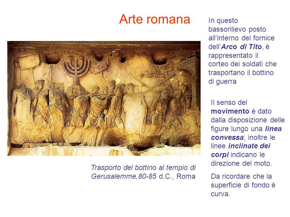 In questo bassorilievo posto allinterno del fornice dellArco di Tito, è rappresentato il corteo dei soldati che trasportano il bottino di guerra Il se