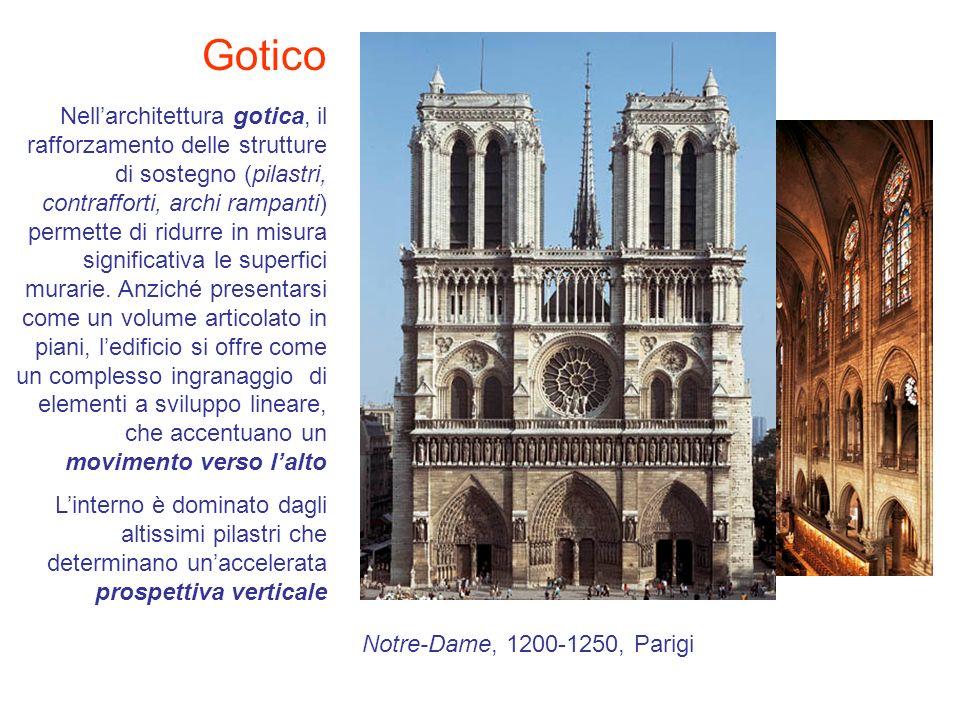 Gotico Nellarchitettura gotica, il rafforzamento delle strutture di sostegno (pilastri, contrafforti, archi rampanti) permette di ridurre in misura si